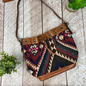 Vintage Kilim Woven Tapestry Leather Trim Purse